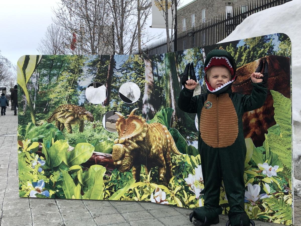 the Royal Canadian Mint dinosaur-themed photo booth