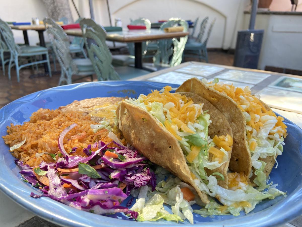 Chicken taco with rice and beans from Las Casuelas Nuevas