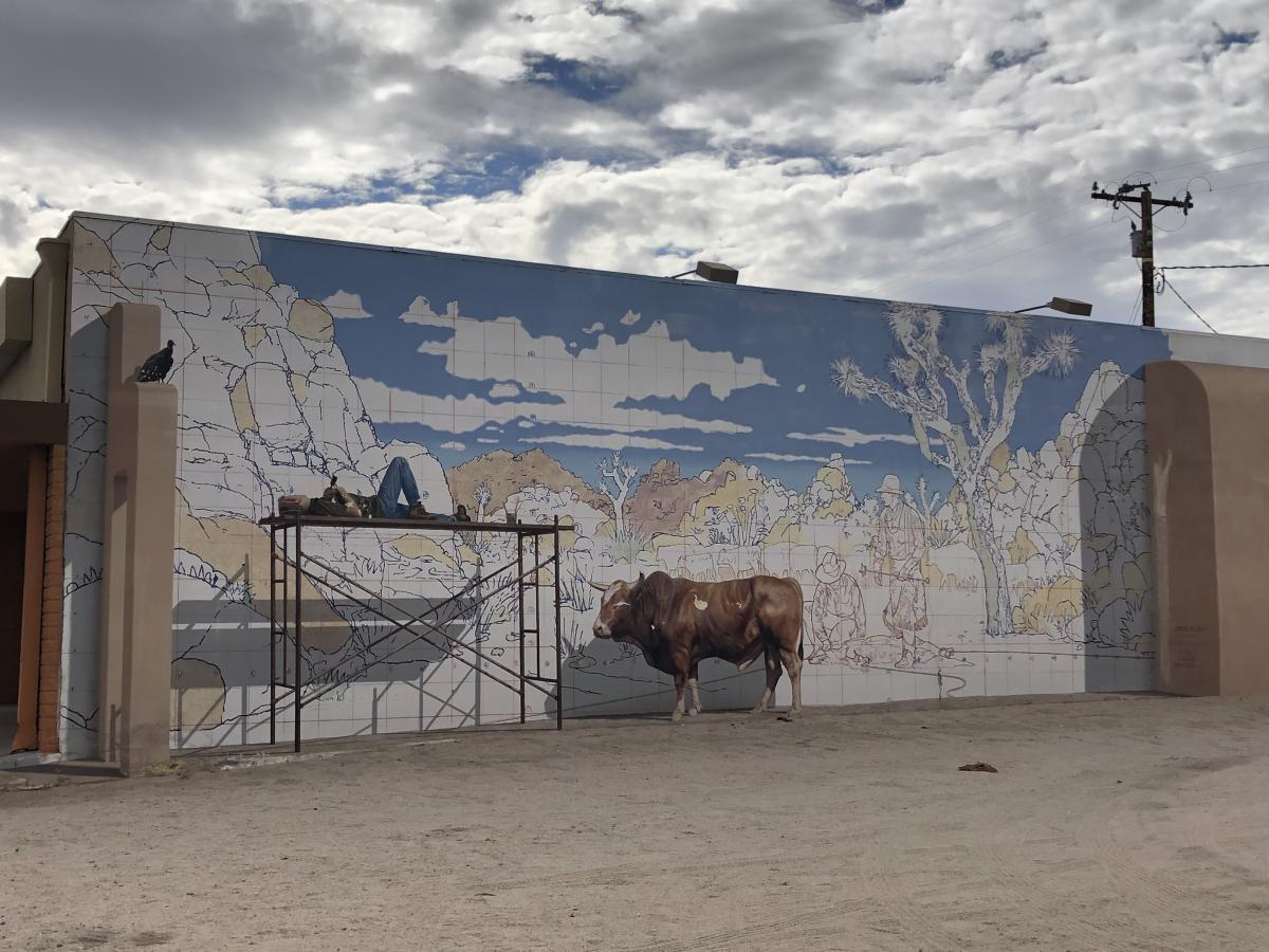 A wall mural in Twentynine Palms called Valentine's Day by John Pugh of Los Gatos