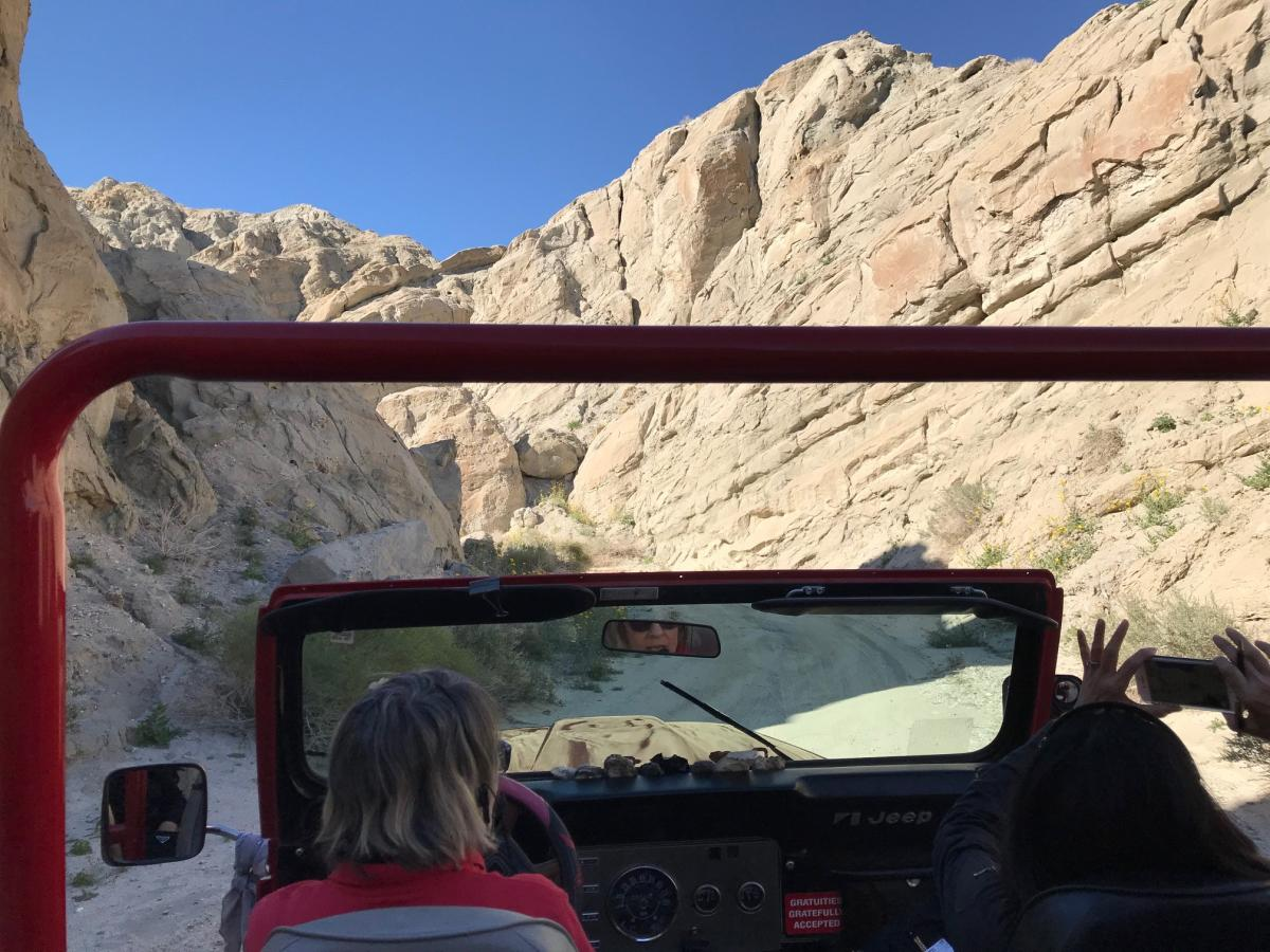 Red Jeep Tours driving through Metate Ranch.