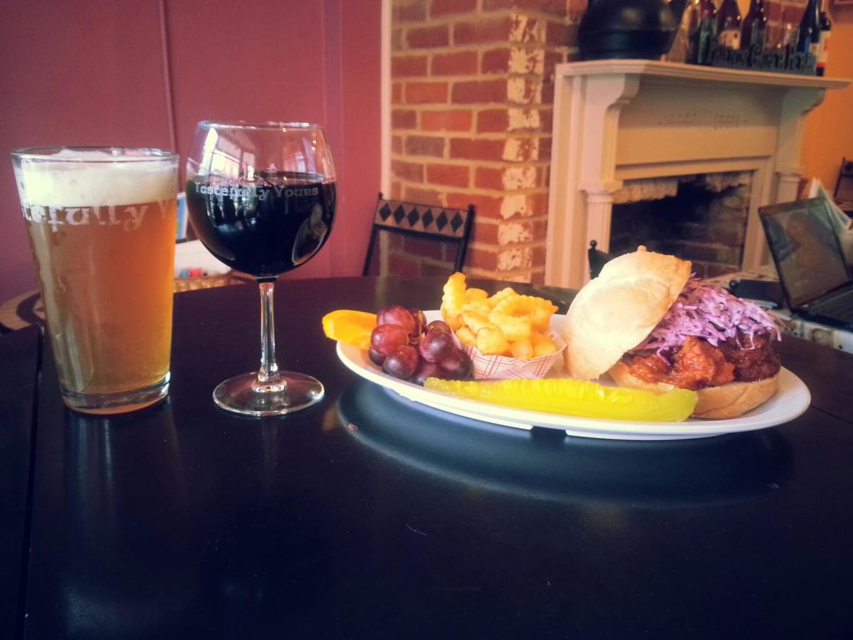 sandwich, beer and wine at Tastefully Yours in Occoquan