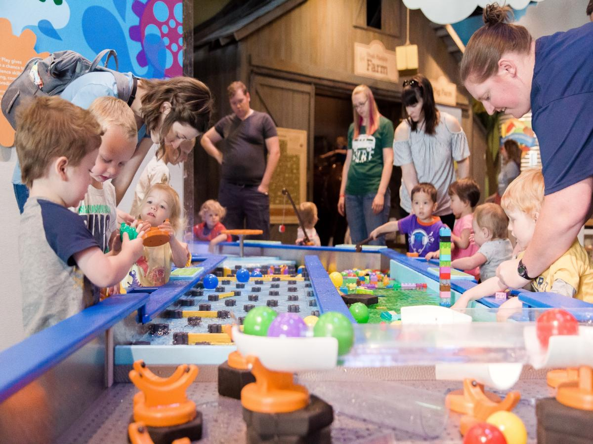 The Water Play Exhibit includes racing rivers, a water wall with tipping buckets, a water vortex and more