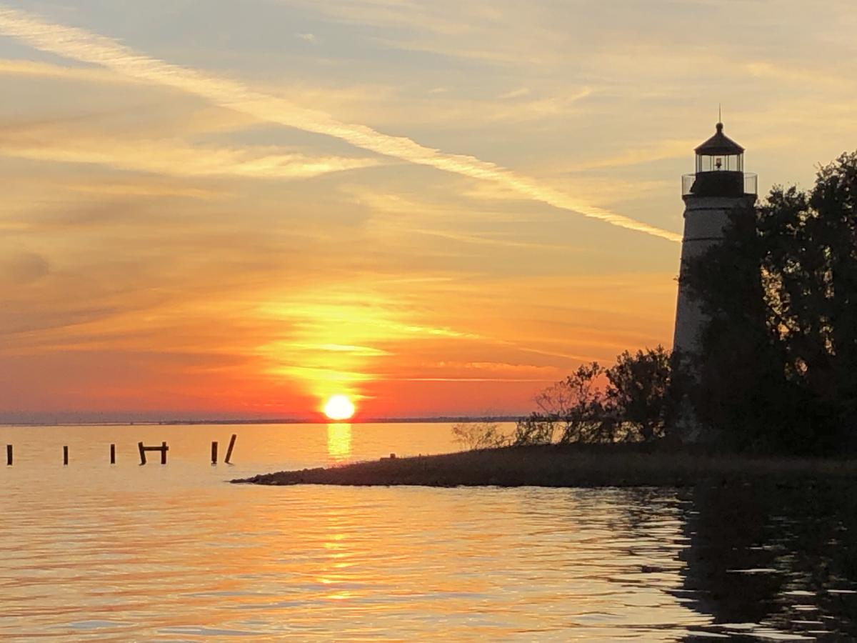 Madisonville Lighthouse, taken by cc, sunset