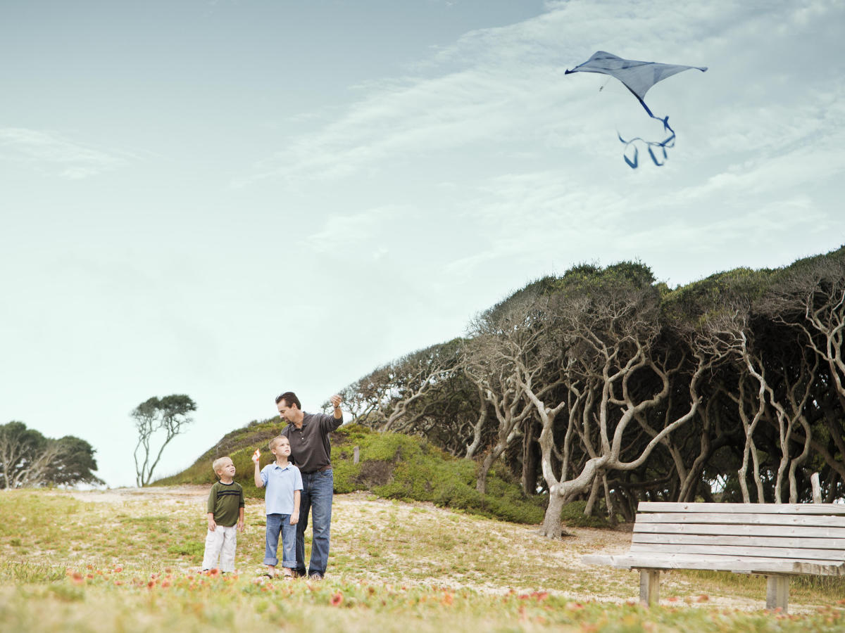 Family Flying Kite at Fort Fisher State Historic Site