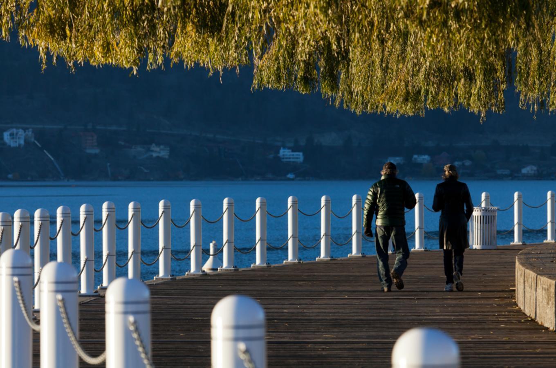 Walking along downtown boardwalk