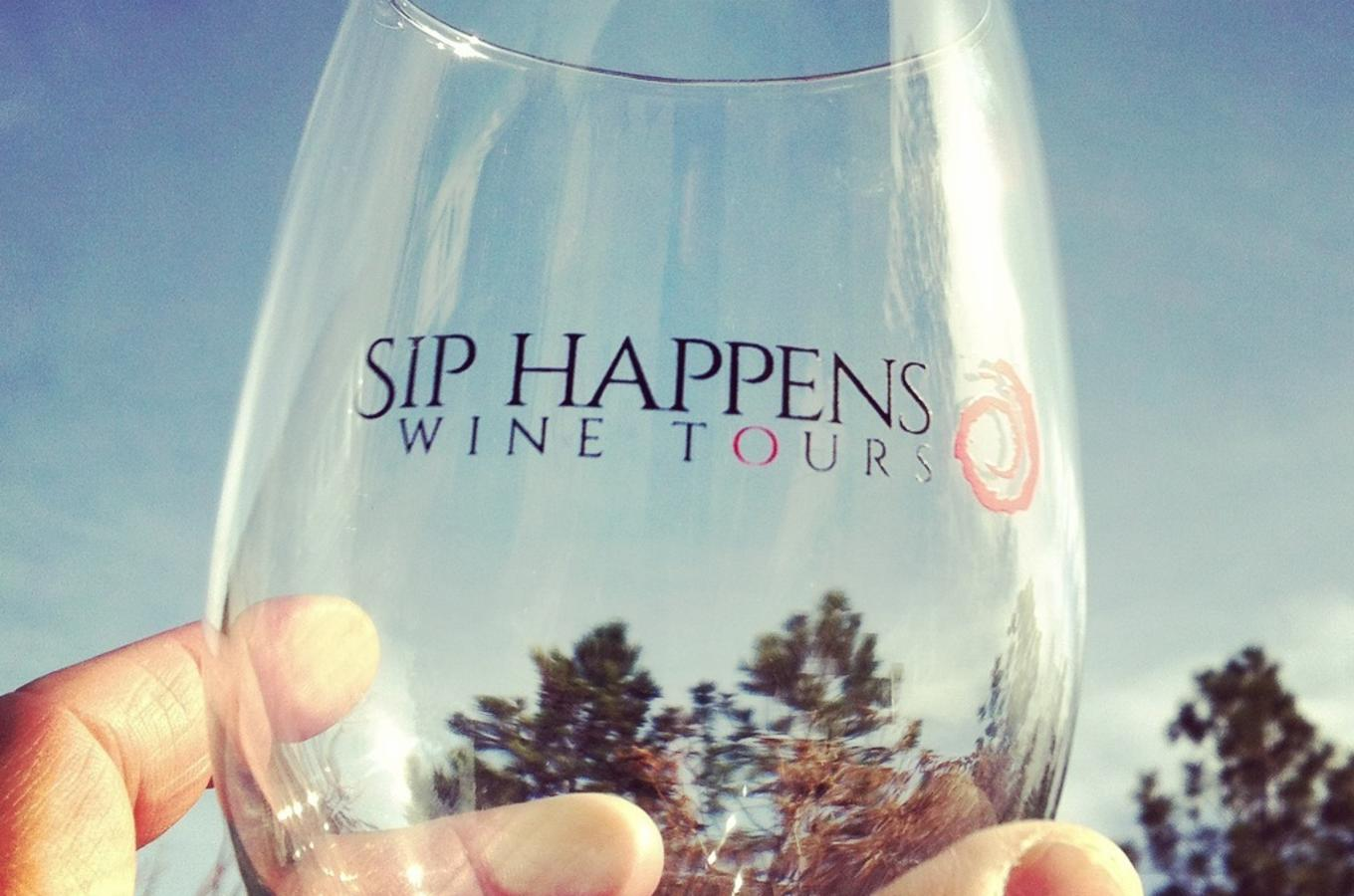Your FREE souvenir Sip Happens Wine Tours stemless wine glass