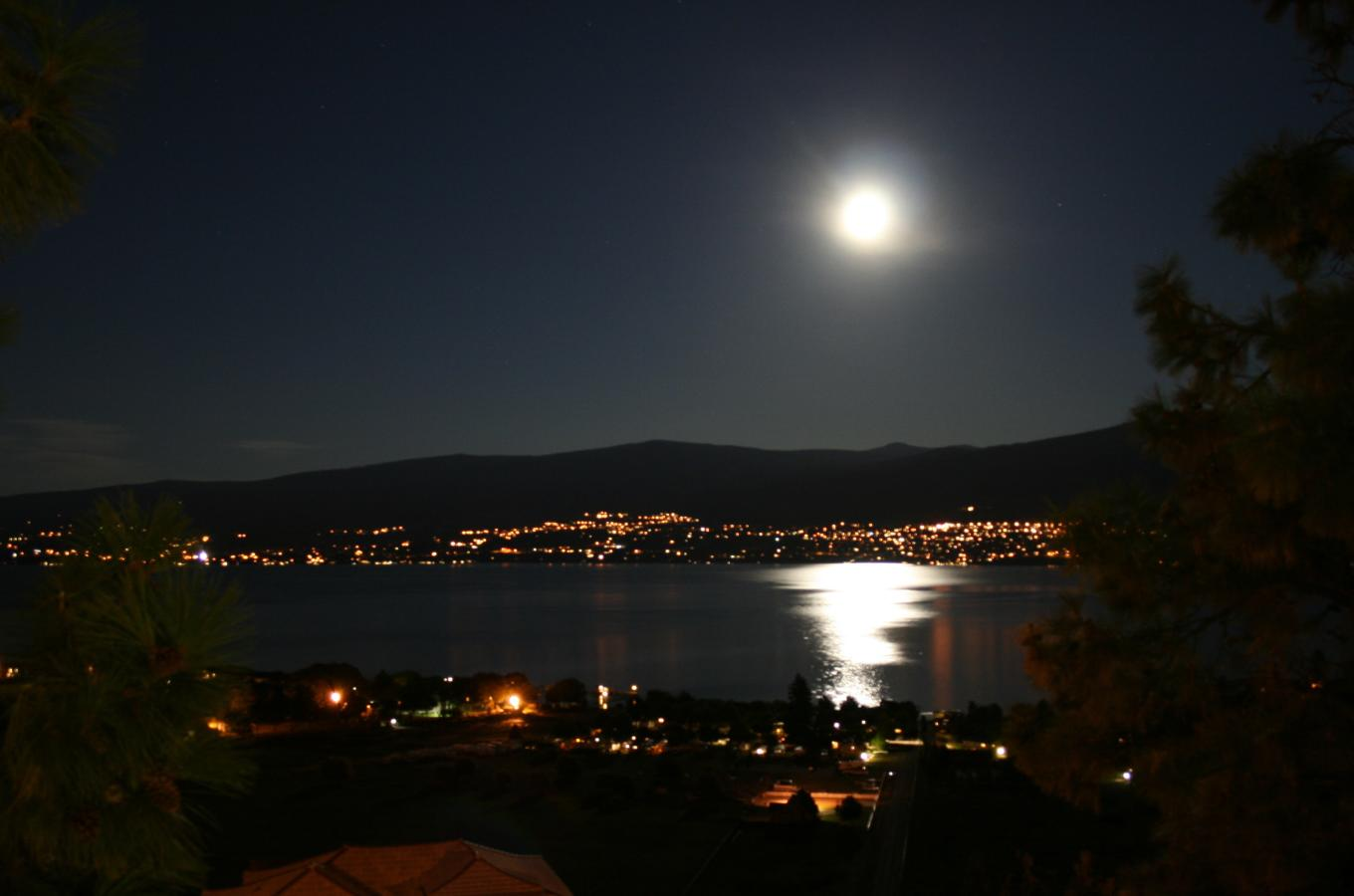 How romantic - watch the full moom shimmering over Lake Okanagan from your deck.