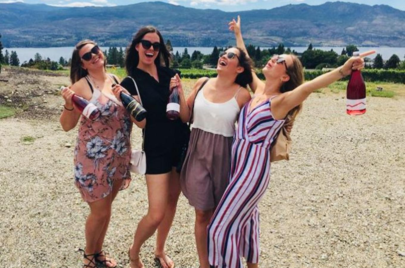 Girls having fun on wine tour - Mt.Boucherie Winery - West Kelowna