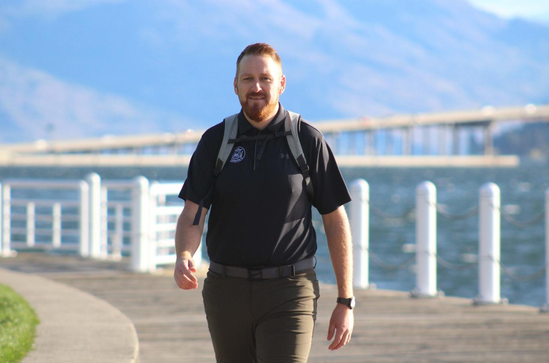Andrew - walking through Waterfront Park