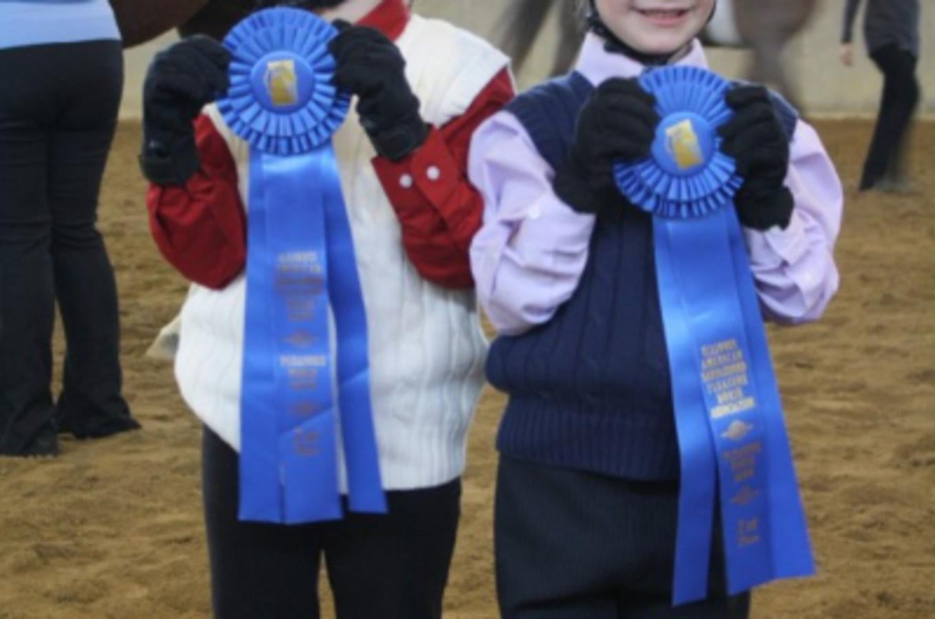 Applewood Farm Two Girls With Blue Ribbons