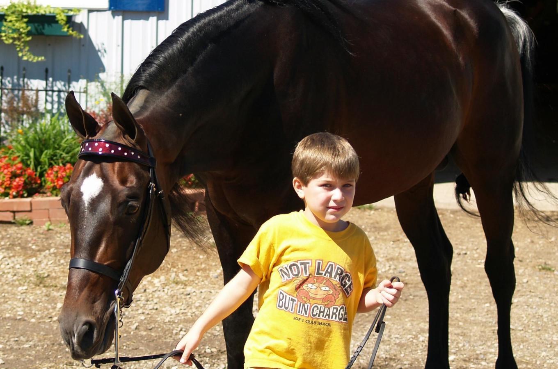 Applewood Farm Boy Leading Horse