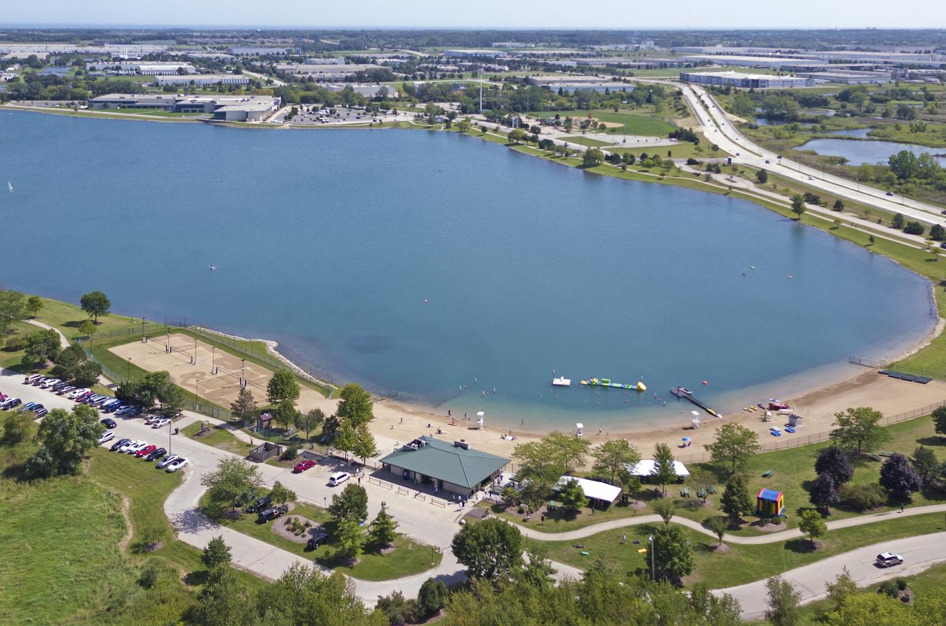Drone pic of Lake Andrea from Beach
