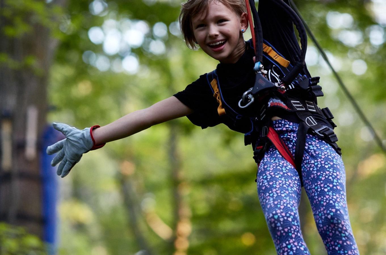 Girl on Boundless Adventures Zipline