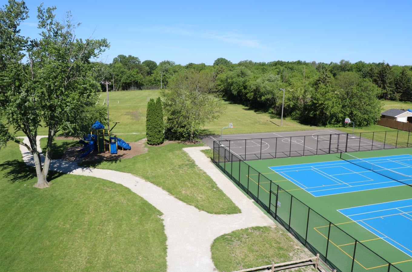 Pleasant Prairie Park playground basketball and tennis courts V Pic