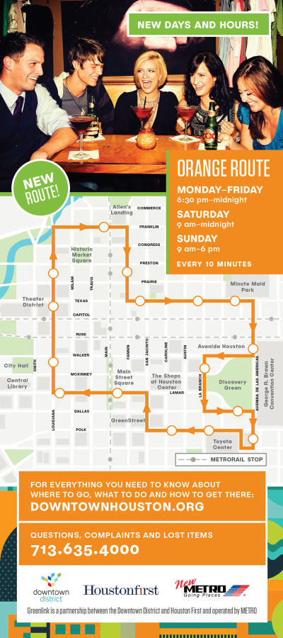 Greenlink Houston Orange Route Map