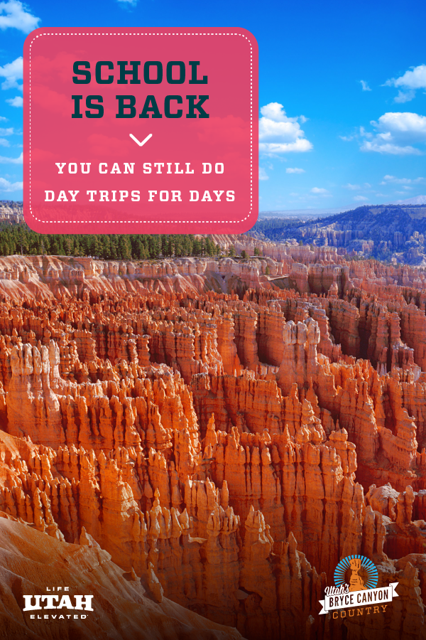 These Utah day trips are great options even during the school year! A few examples of these Utah road trip ideas are Panguitch Lake, Bryce Canyon National Park, Anasazi State Park Museum and more!