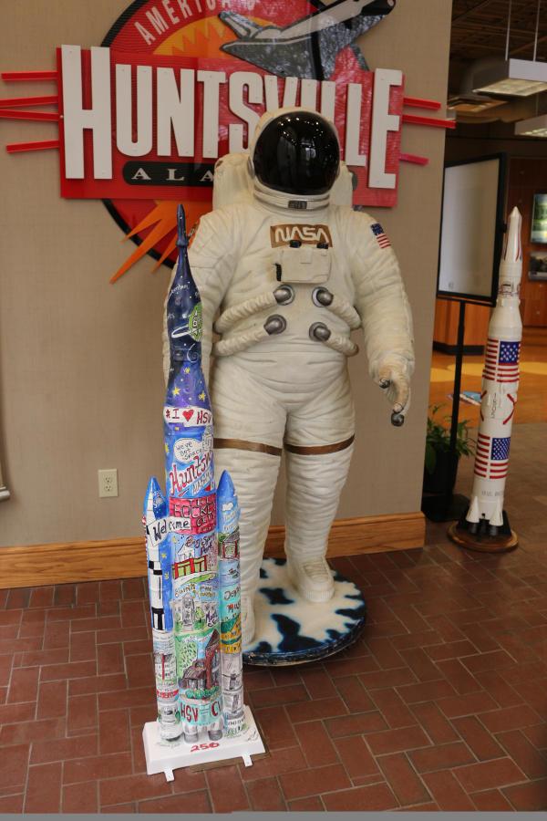 Visitor Center Rocket on Parade