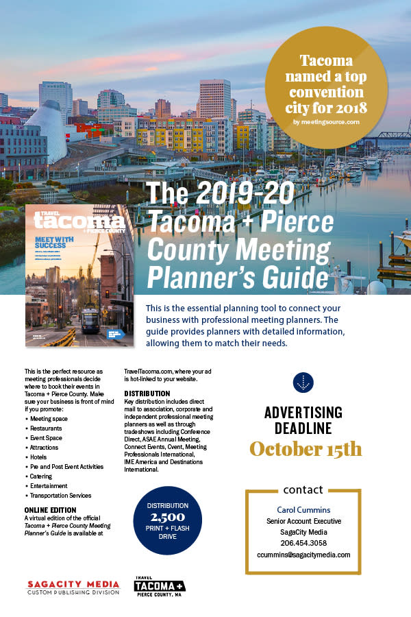 Meeting Planner Guide Media Kit, reach meeting planners, contact Carol Cummins (206) 454-3058 or by email at ccummins@sagacitymedia.com.
