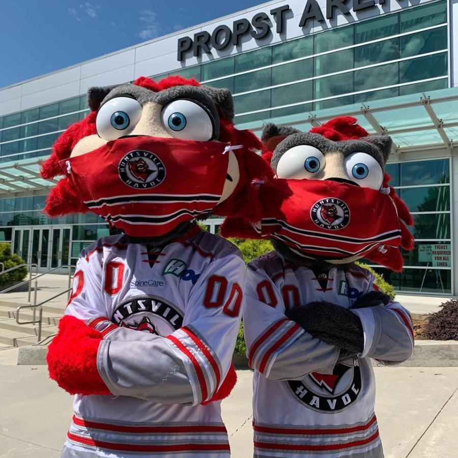 Huntsville, AL Havoc mascots wearing Masks