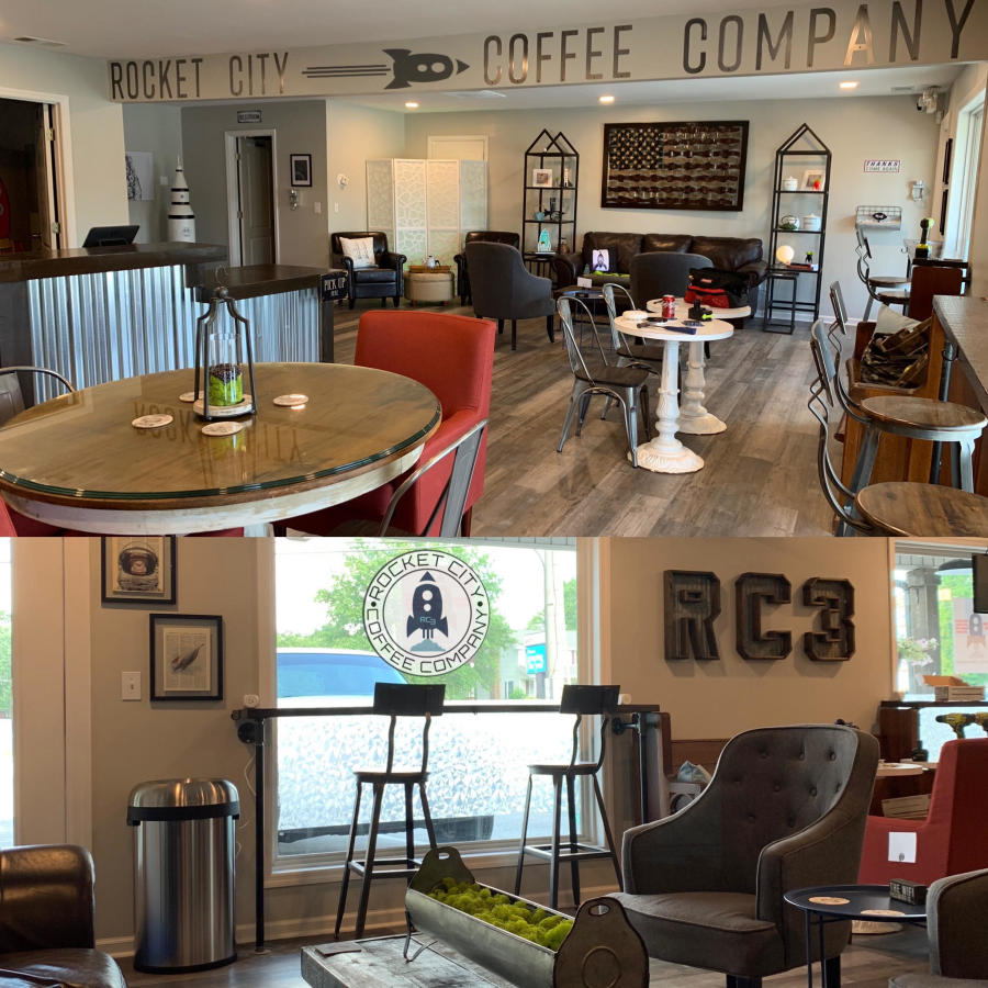 The seating at Rocket City Coffee Company is industrial and modern, inspired by Huntsville's history.