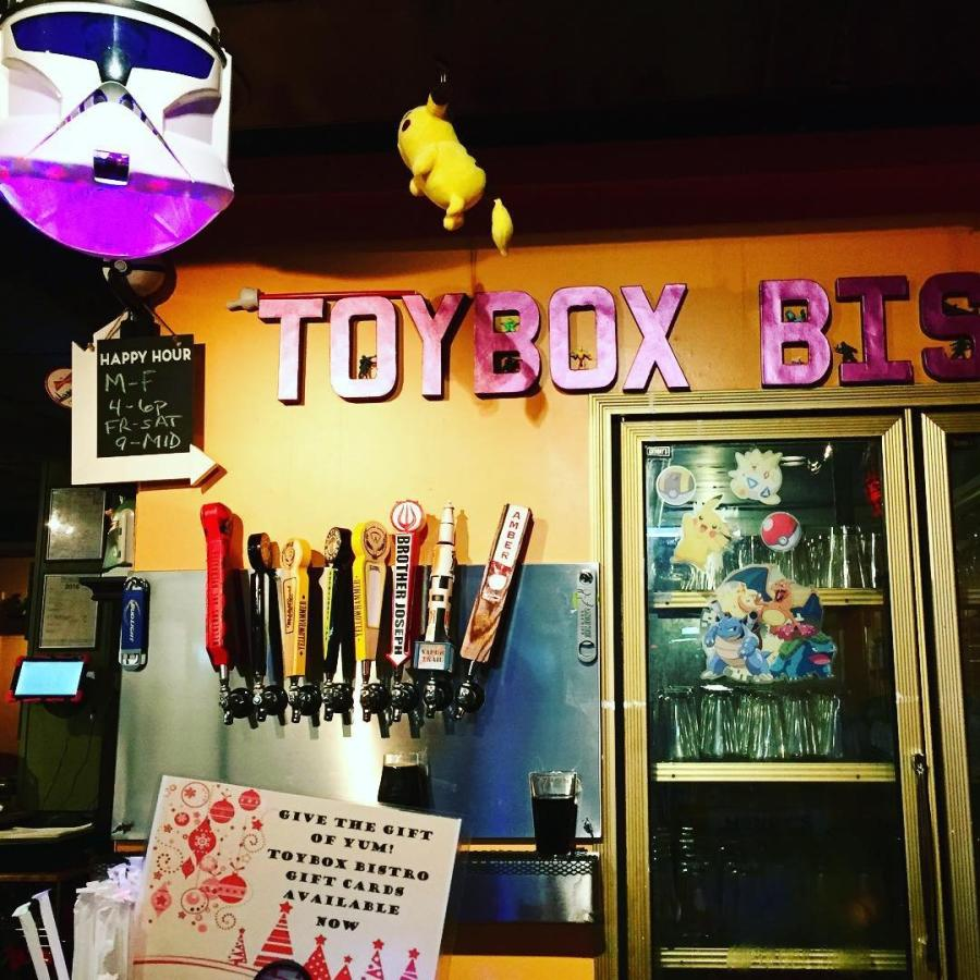 A picture of some of the different adult beverage options available at Huntsville's Toy Box Bistro.