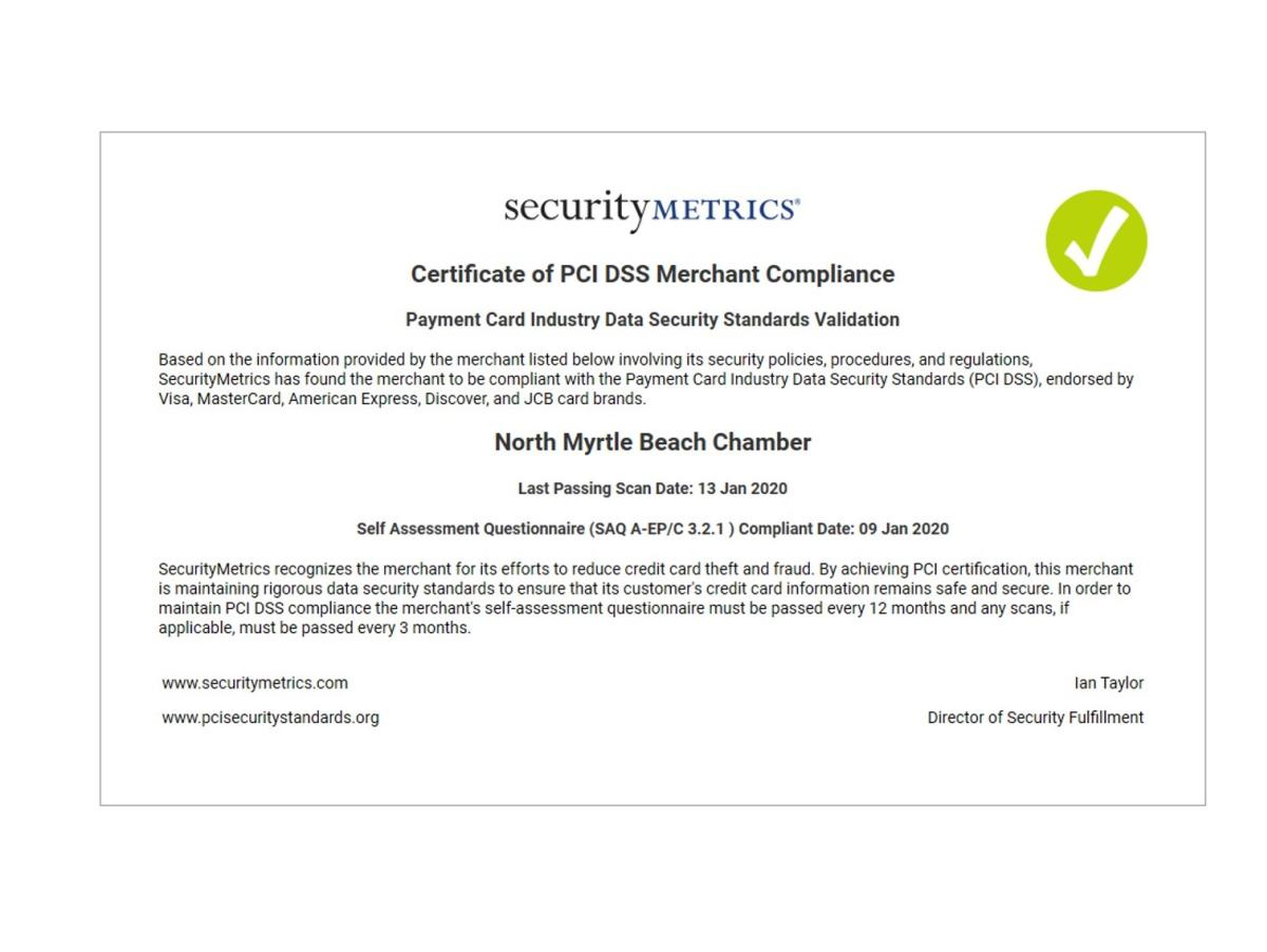 Updated Compliance Certificate