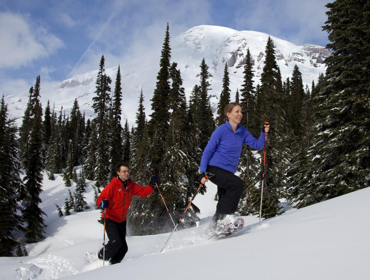 Snowshoeing on Mount Rainier