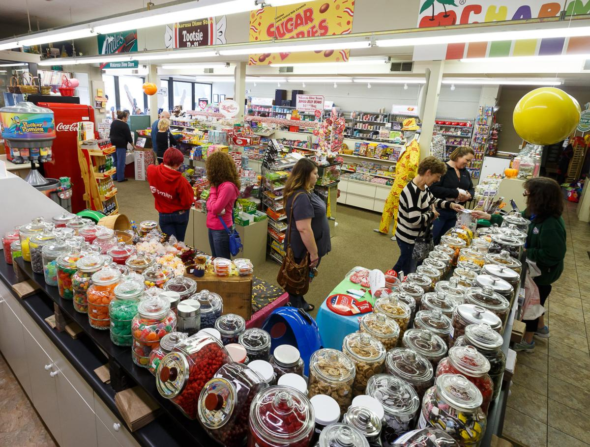 Guests looking at the treats in the Wakarusa Dime Store