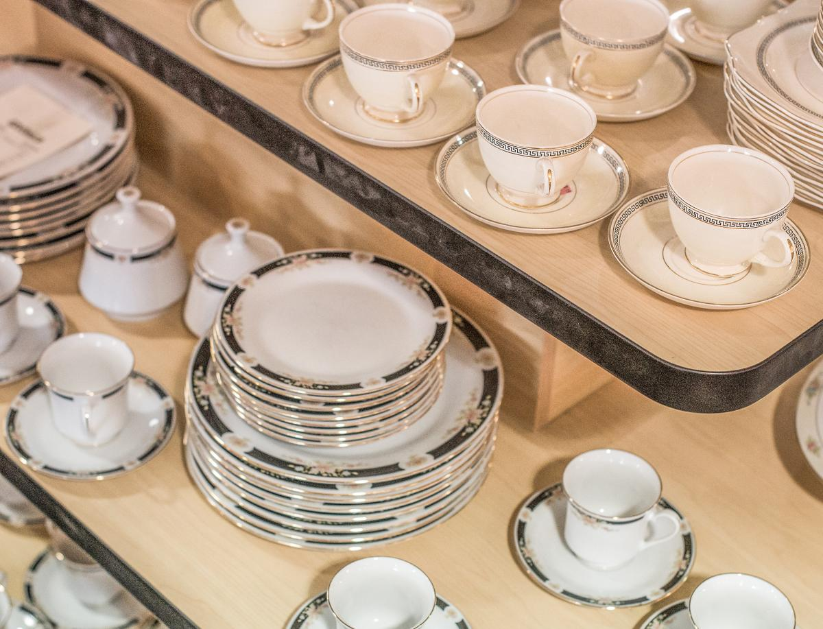 Tea set display at Revivals Palm Desert
