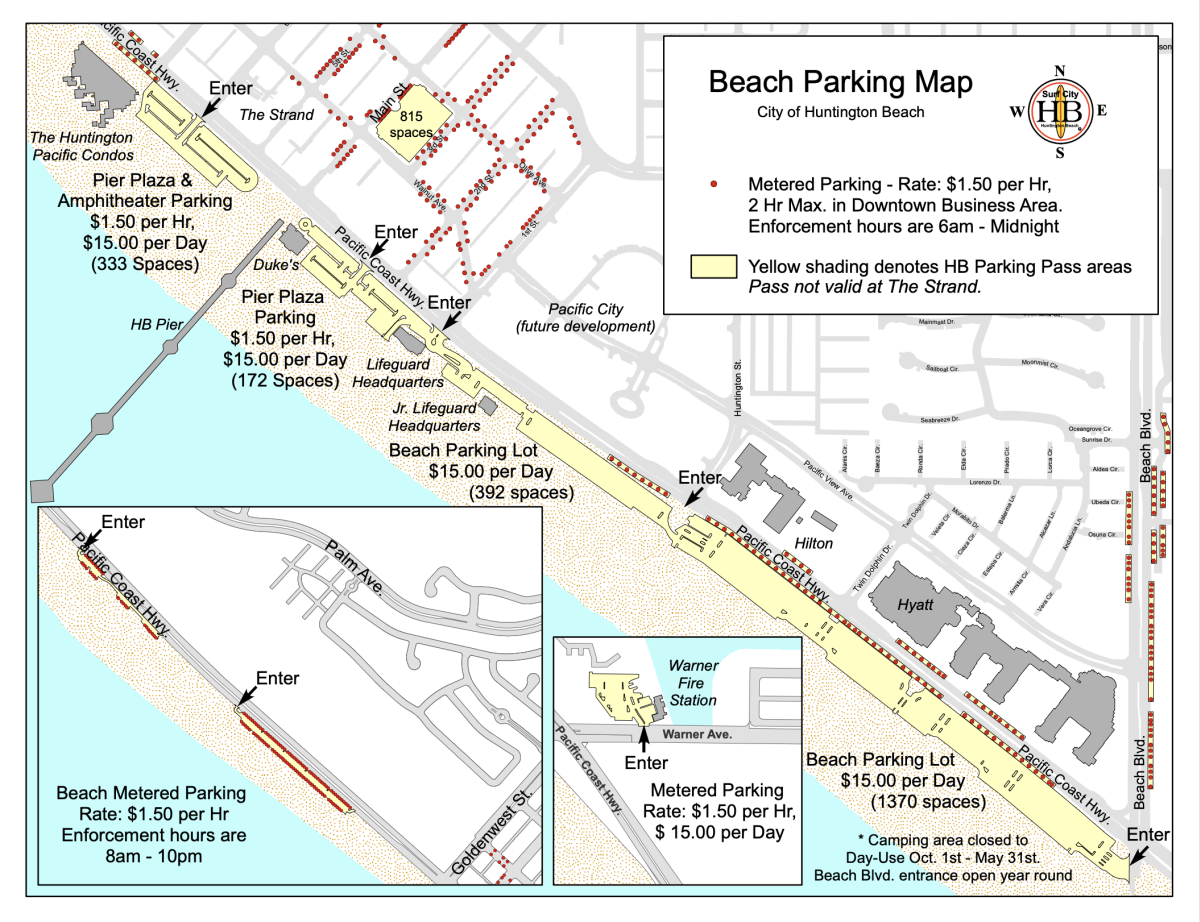 Huntington Beach City Metered Parking Map