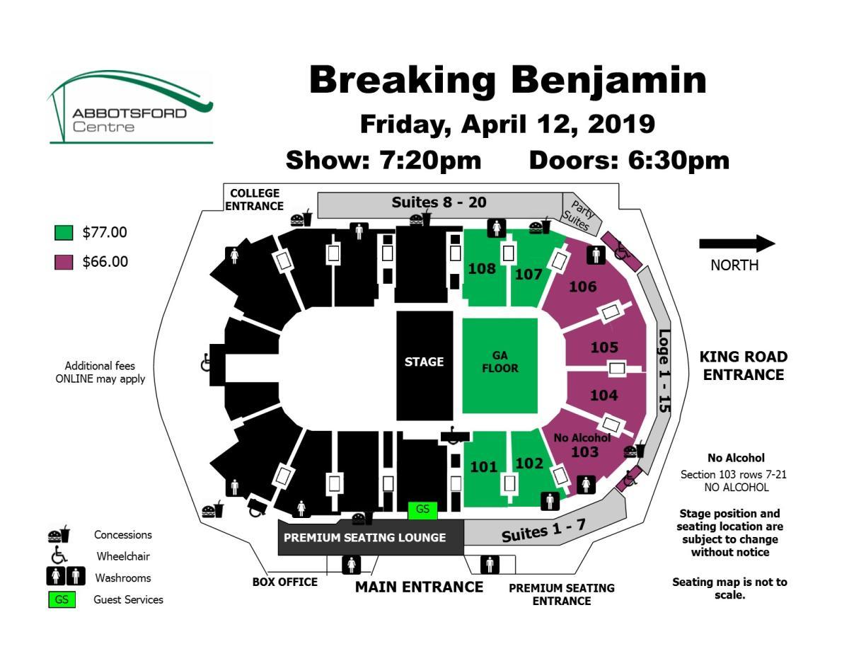 seat map, Breaking Benjamin