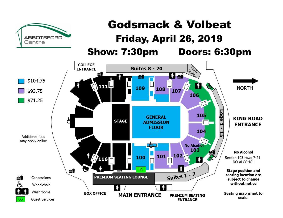 Godsmack & Volbeat Seating Map