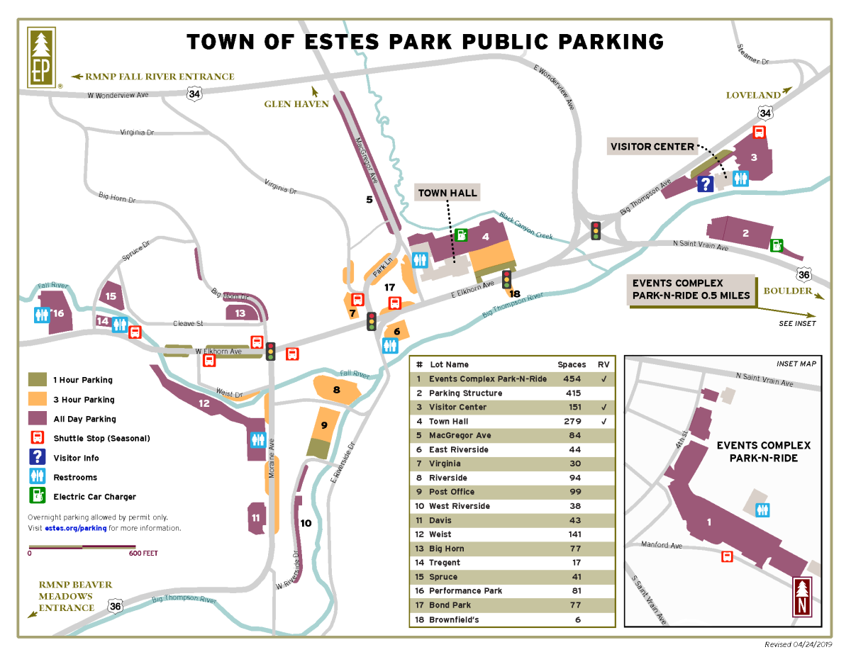 Town of Estes Park Public Parking Map