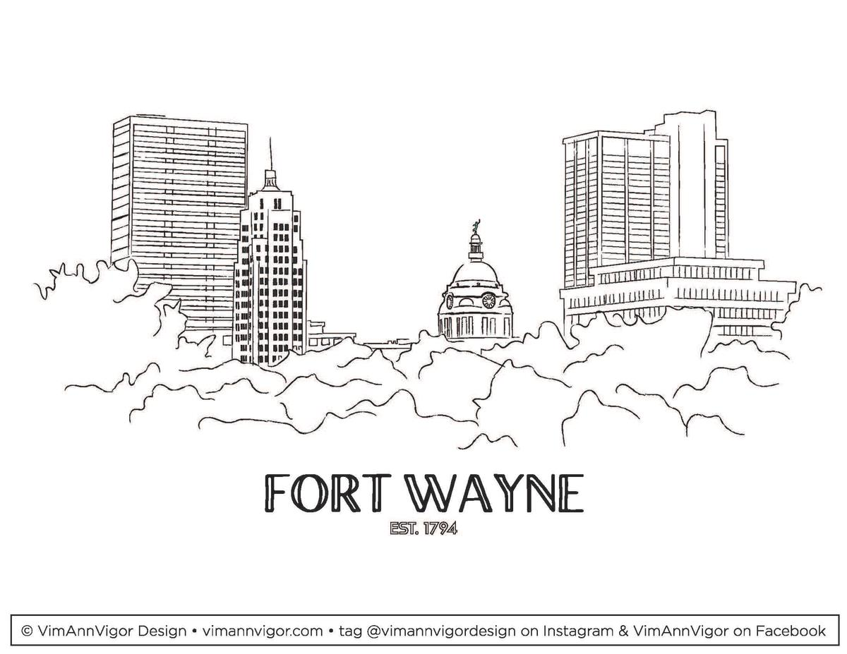 Fort Wayne Skyline Coloring Sheet by Nicolle Ginter