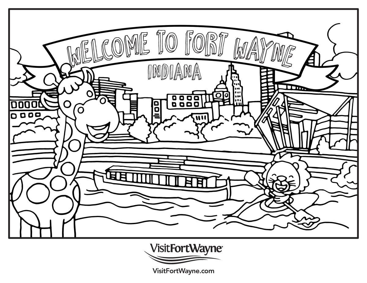 Visit Fort Wayne Kids' Coloring Page of Fort Wayne Skyline