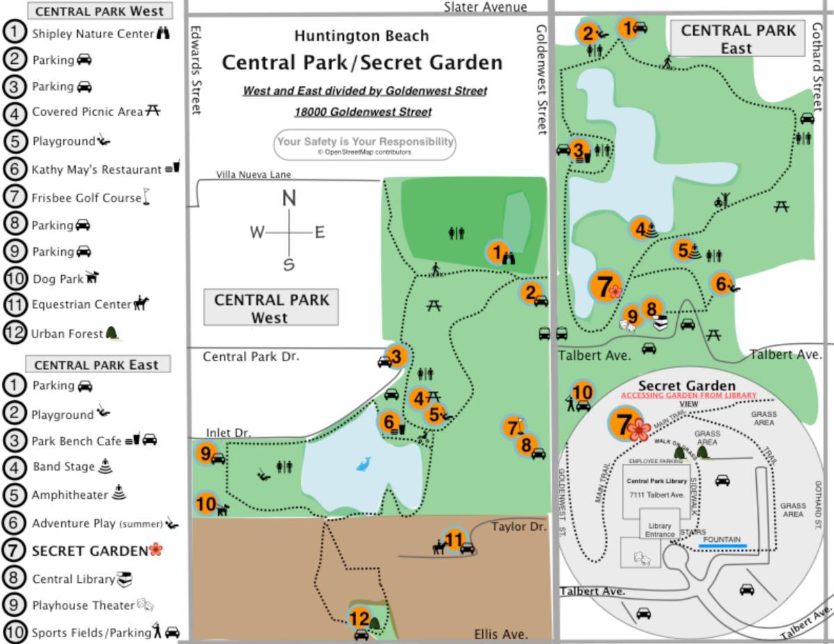 Huntington Beach Central Park Map