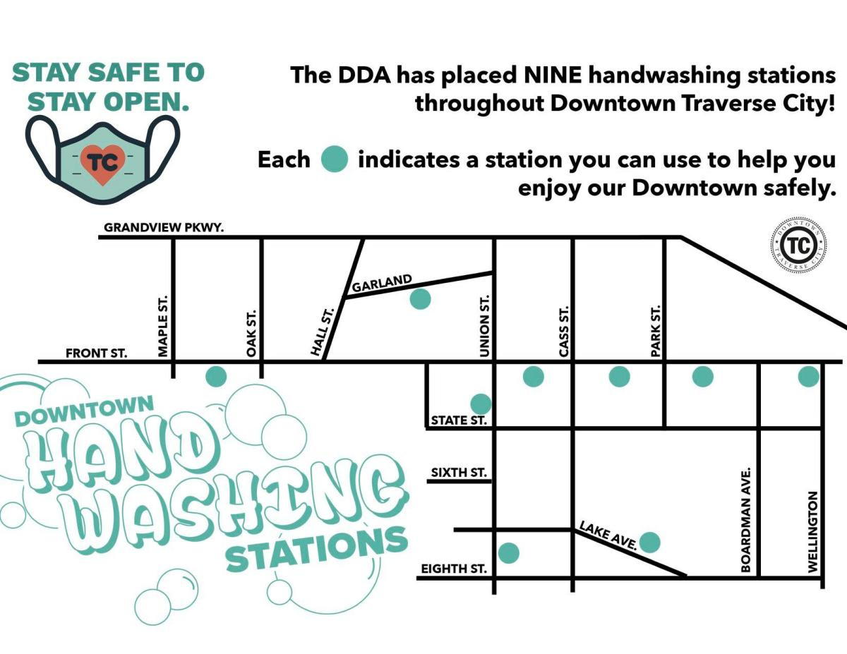 Handwashing stations in Downtown Traverse City