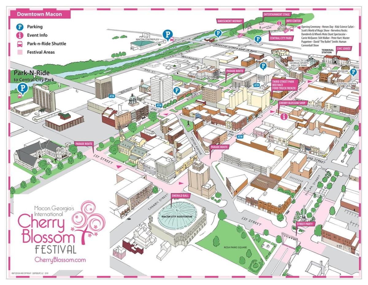 Cherry Blossom Downtown Map