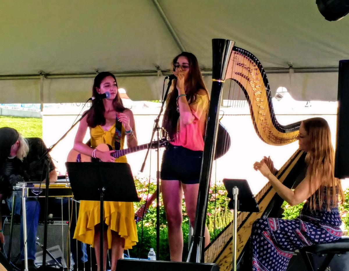 Harpist Erin Hill performs with Mia and Alisa