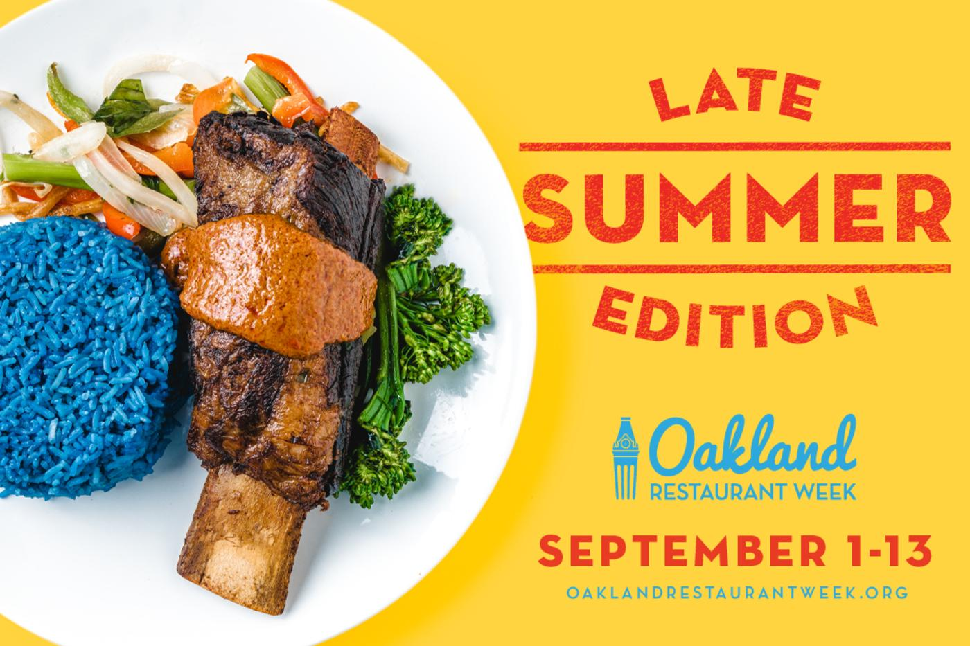 Oakland Restaurant Week Late Summer Edition banner with dates