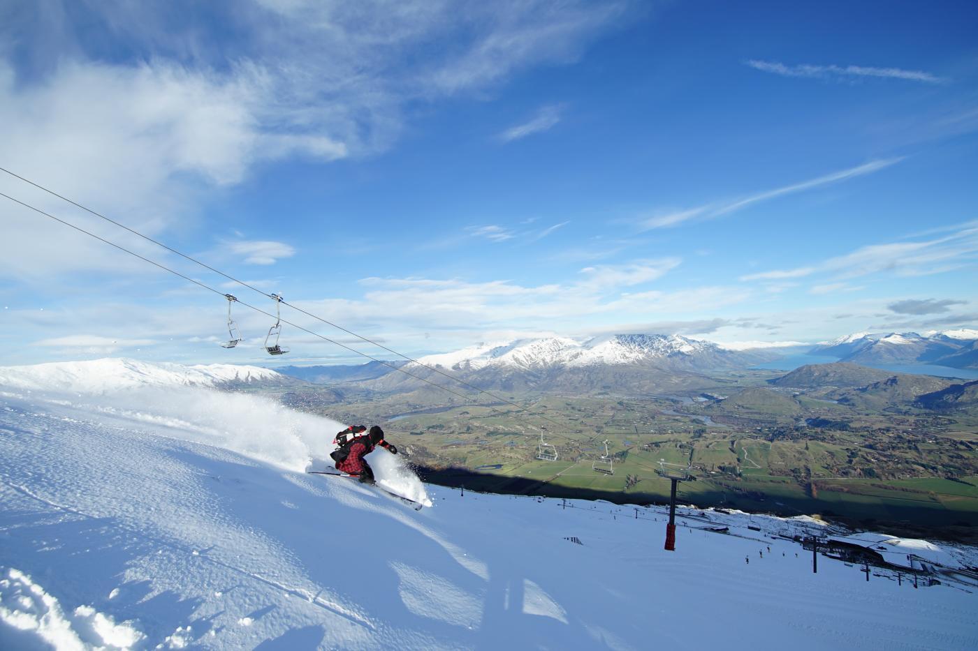 Skier at Coronet Peak during Spring