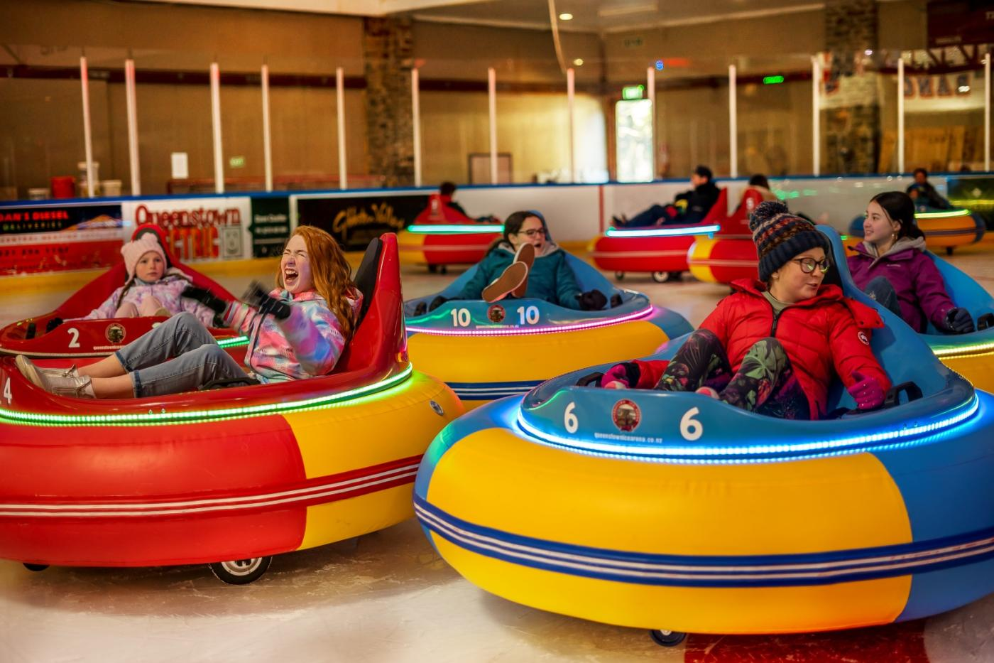 Kids having fun at the Queenstown Ice Arena Bumper Cars
