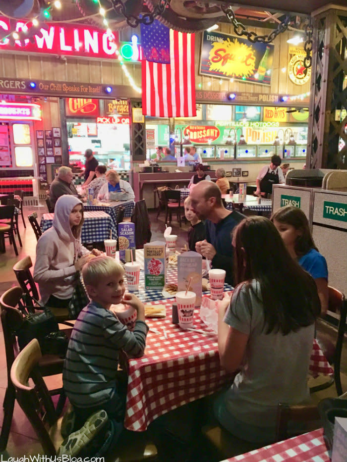 Family enjoying Portillo's Hot dogs in Merrillville, IN