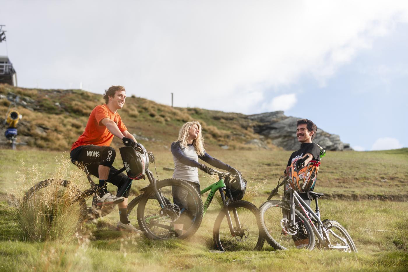 Friends biking Coronet Peak