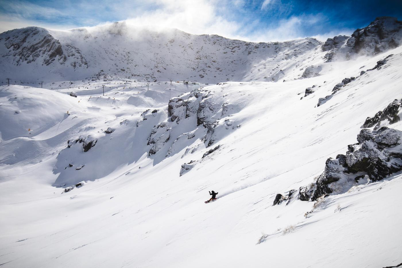 The Remarkables snowboarder in action