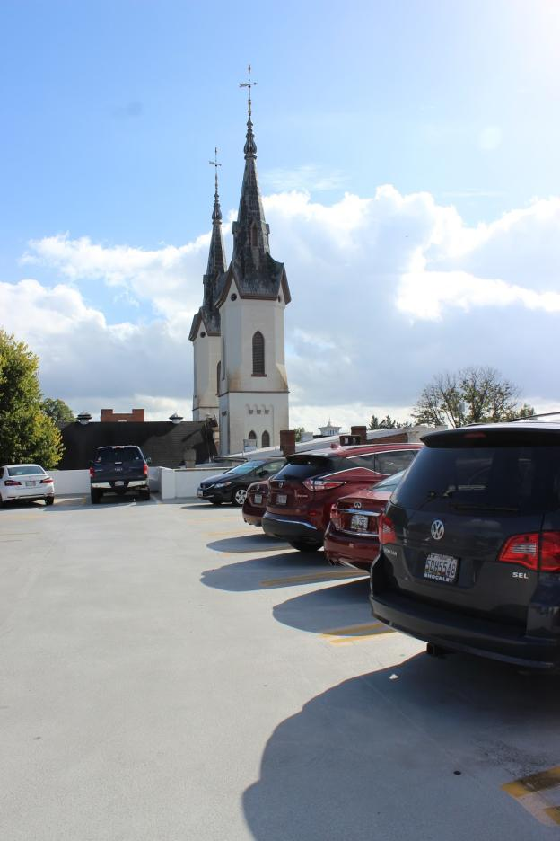 Parking lot with the Twin Spires in Downtown Frederick
