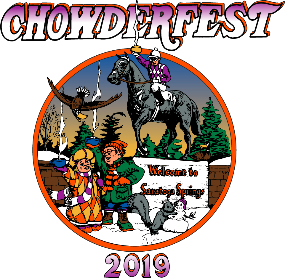 Saratoga Chowderfest 2019 logo and Native Dancer illustration