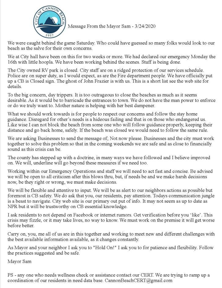 Message from Mayor Sam Steidel