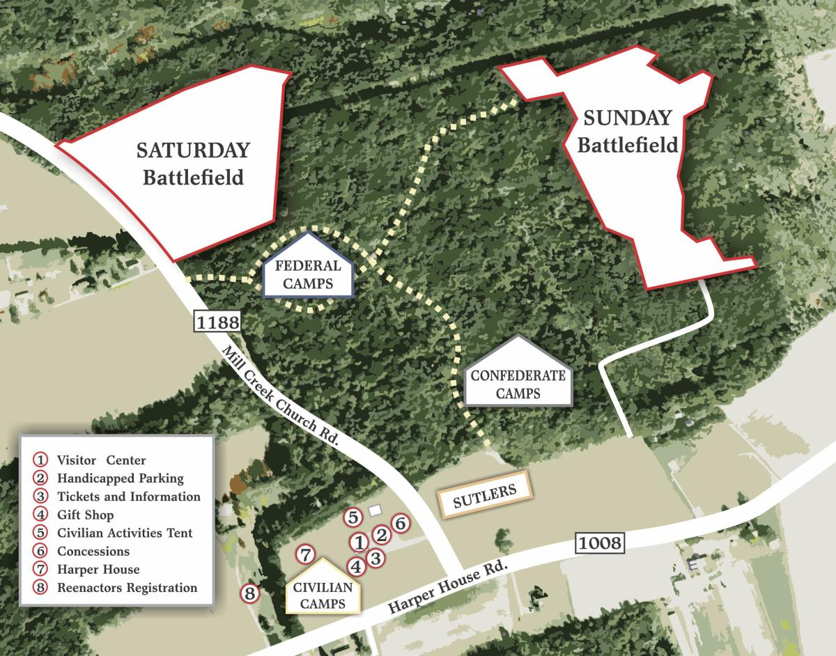 Map of the 155th Bentonville Reenactment Event scheduled for March 21-22, 2020.