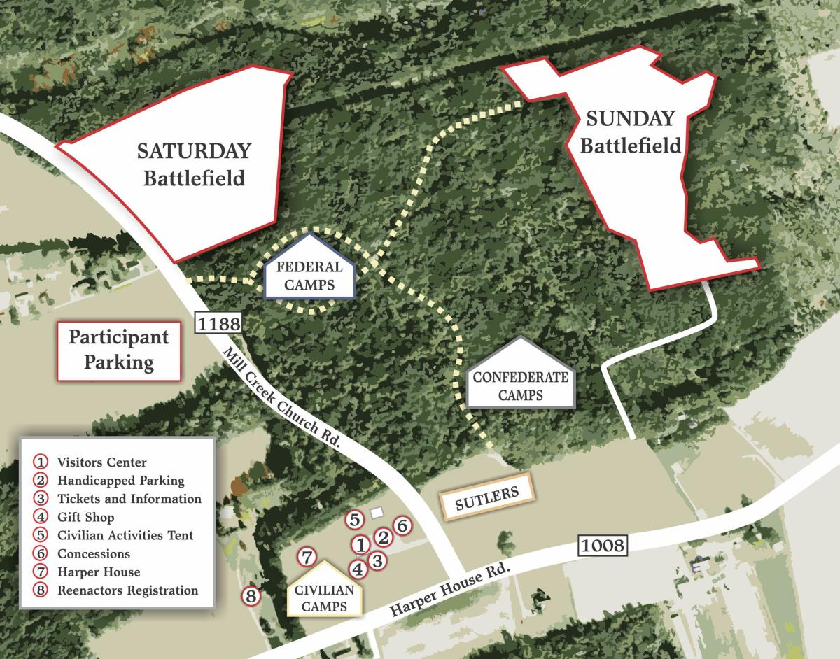 Map for Reenactors for 155th Event at Bentonville Battlefield, March 21-22, 2020.